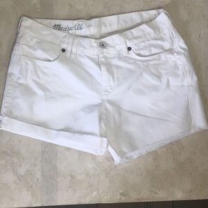 Madewell White Raw Hem Roll Up Shorts